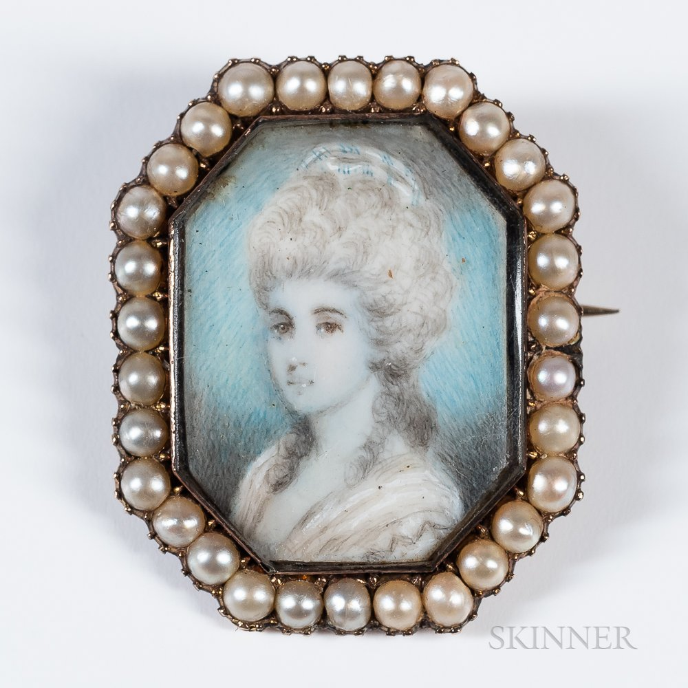 American School, Late 18th Century      Miniature Portrait of a Woman in a White Gown