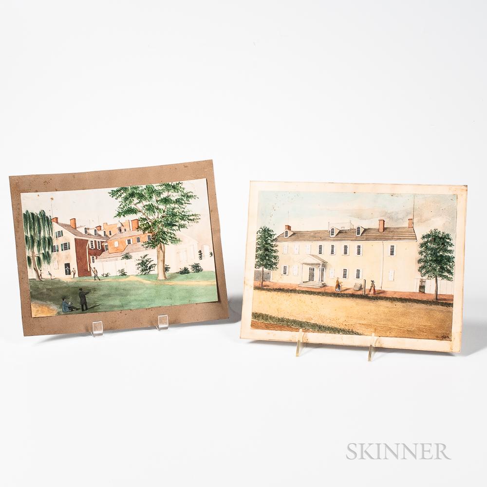Joseph Shoemaker Russell (New Bedford, Massachusetts, 1795-1860)      Two Views of New Bedford