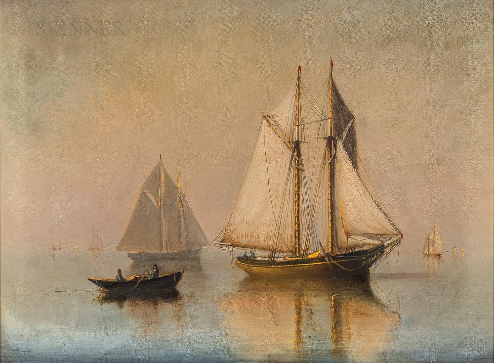 Marshall Johnson (American, 1850-1921)      Vessels in Mist