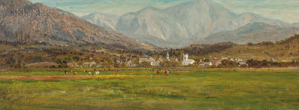 Attributed to John Joseph Enneking (American, 1841-1916)      Village at the Foot of the Mountains
