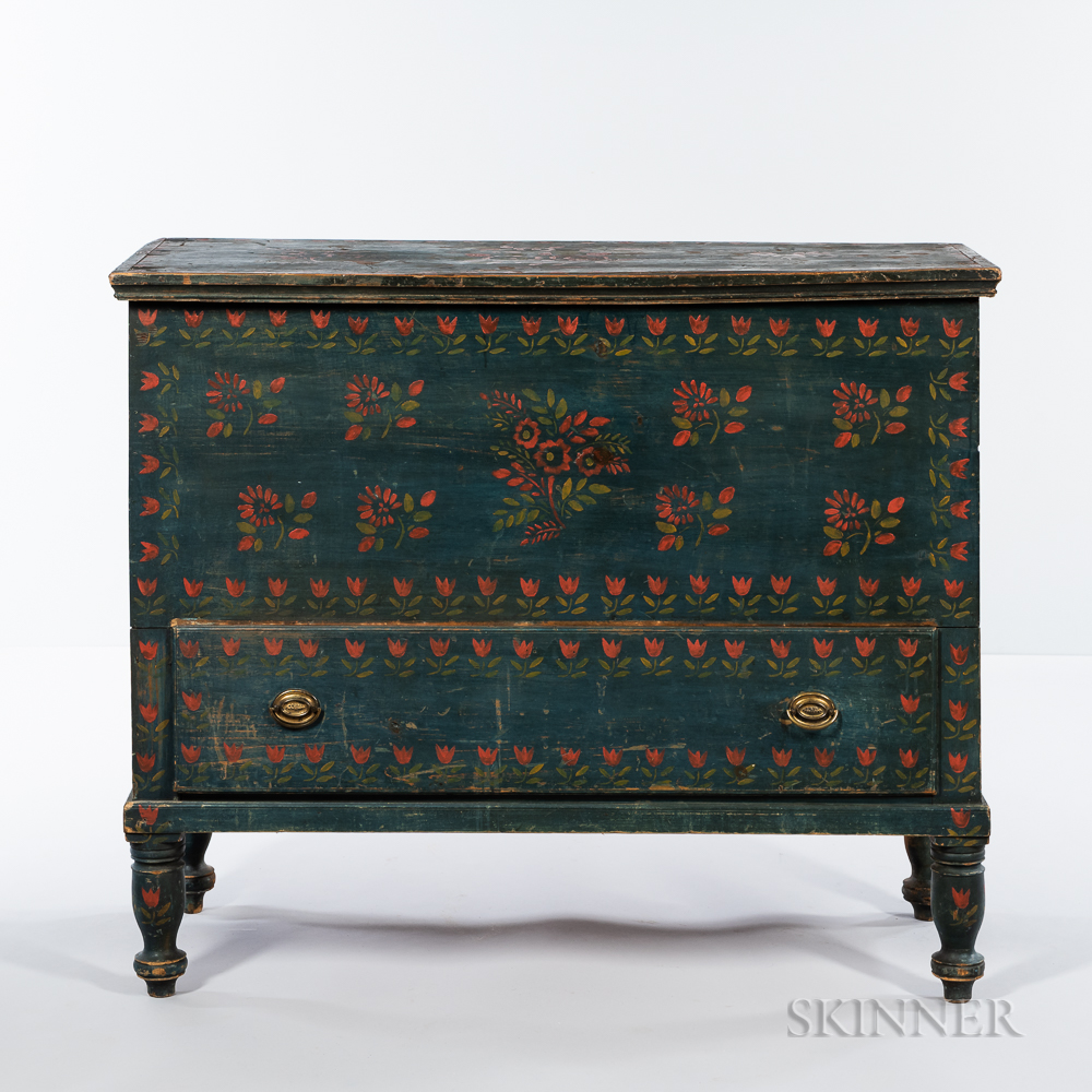 Blue-painted and Stencil-decorated Pine Blanket Chest over Drawer