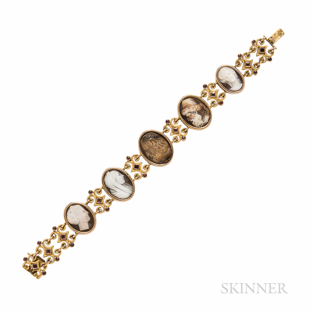 Antique Gold and Hardstone and Shell Cameo Bracelet