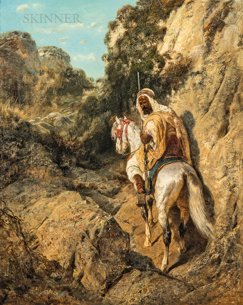 Adolph Schreyer (French/German, 1828-1899)      Arab Horseman Ascending a Rocky Hillside Path