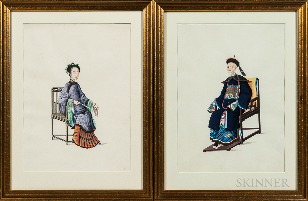 Lamqua (Chinese, act. 1805-1830)      Pair of Portraits of a Chinese Man and Woman
