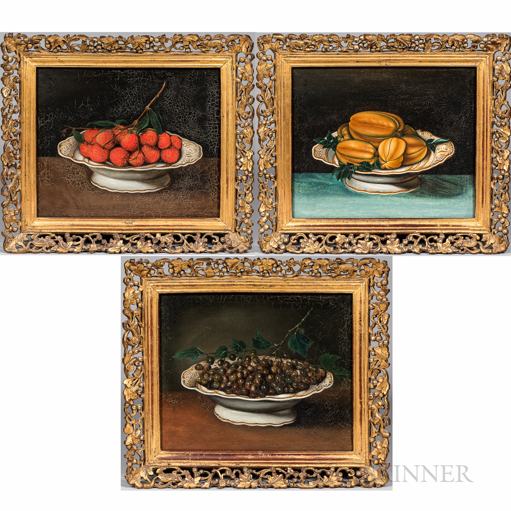 Chinese School, c. 1840      Three Paintings: Bowl of Grapes ,  Bowl of Lychees