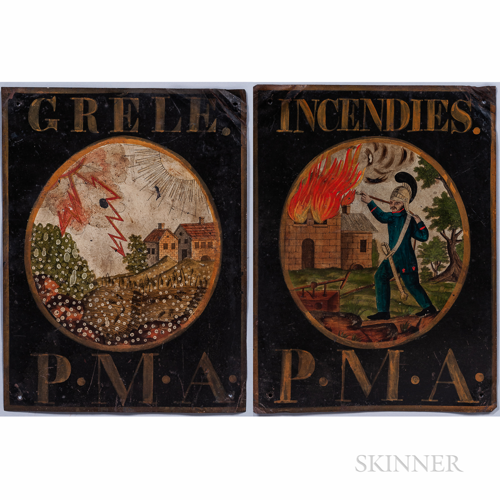 """Pair of Painted Tin """"Premiere Mutual Assurance"""" Advertising Signs"""