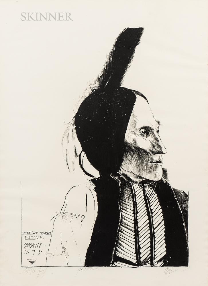 Leonard Baskin (American, 1922-2000)      Chief White Man/Kiowa