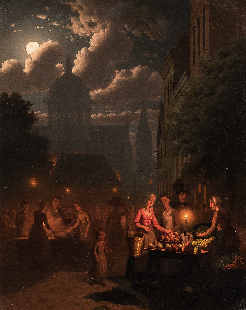 Johann Mongels Culverhouse (Dutch, 1820-1891)      Market Scene at Night