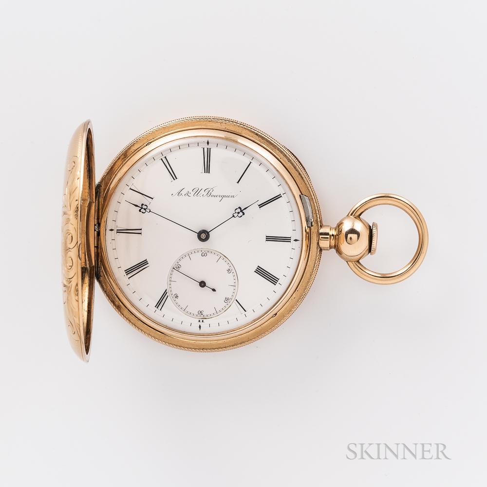 A. & U. Bourquin 18kt Gold Hunter-case Watch