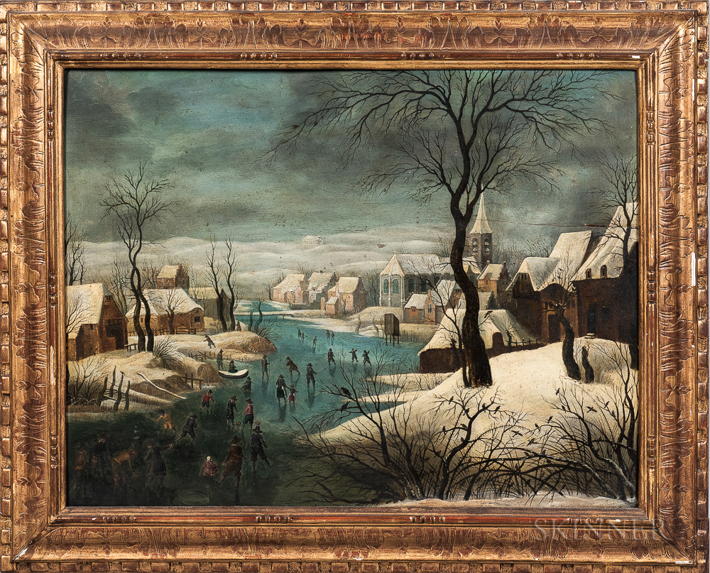 After Pieter Bruegel the Elder (Flemish, c. 1525-1569)      Winterlandschap met schaatsers en vogelknip