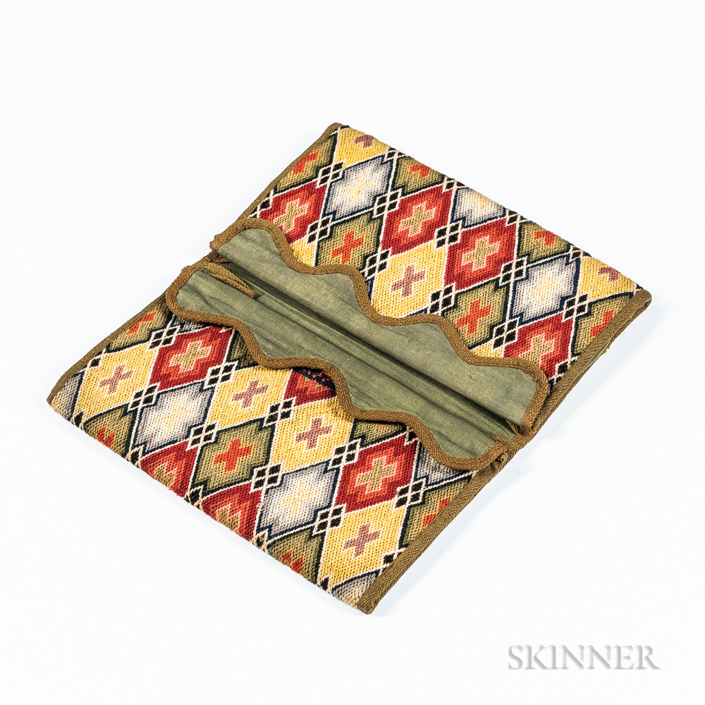 Crewel Flamework Wool and Silk Pocketbook