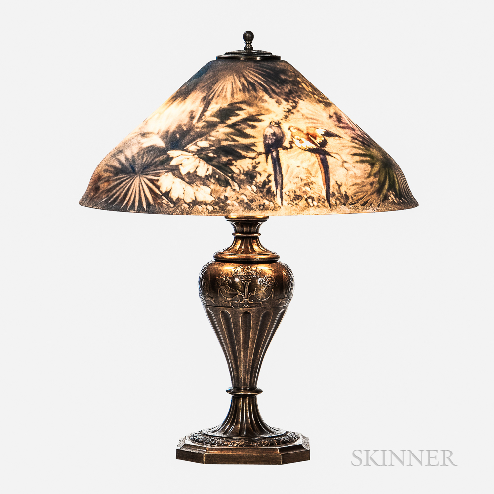 Pairpoint Reverse-painted Parrot Shade Table Lamp