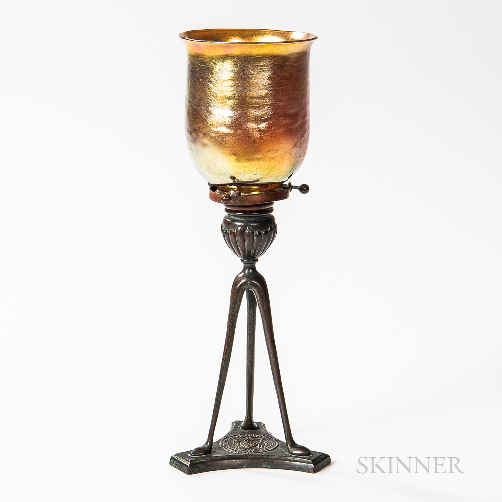 Tiffany Studios Candlestick with Favrile Shade