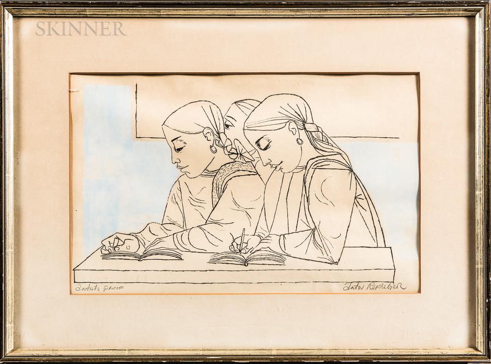 Anton Refregier (Russian/American, 1905-1979)      Schoolgirls