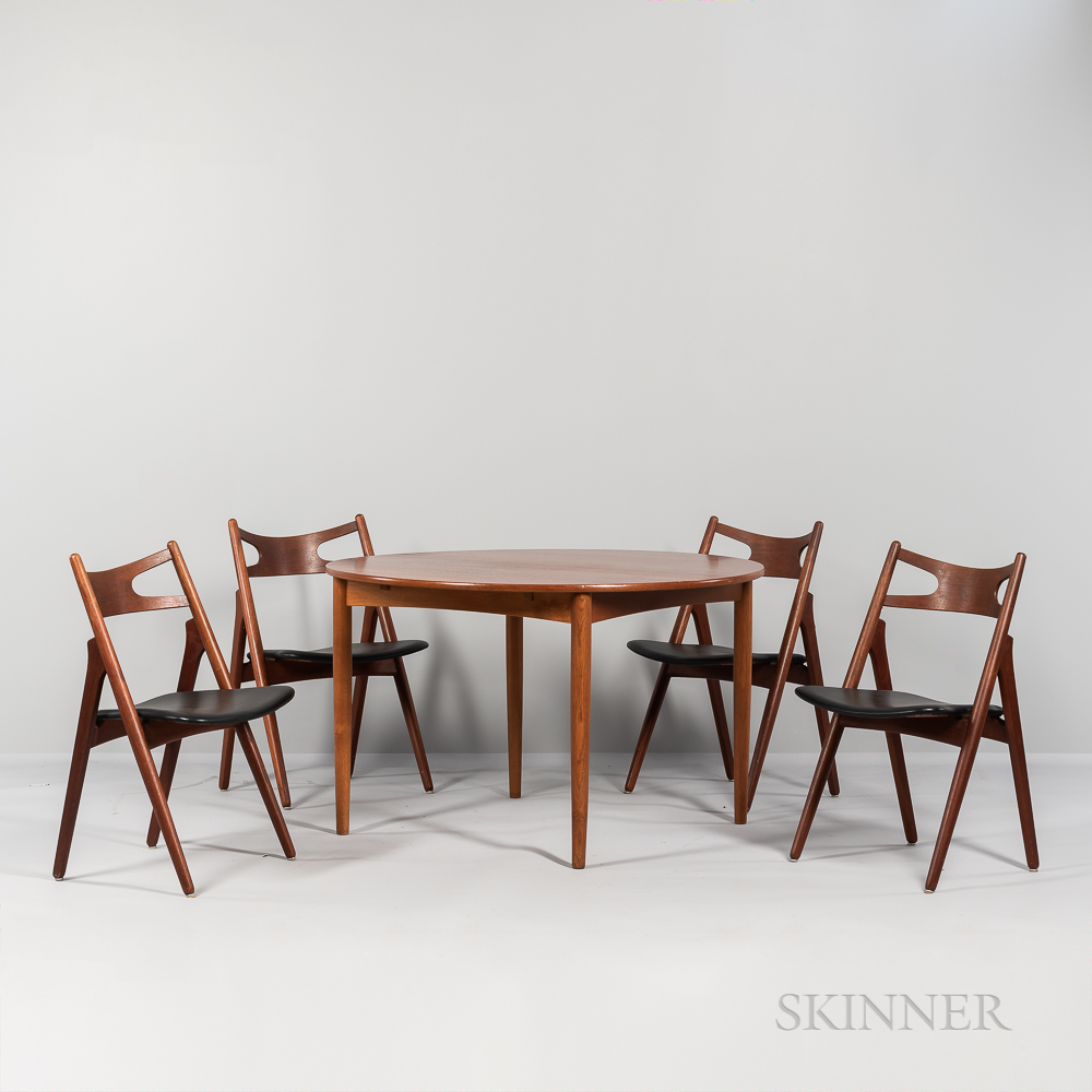 """Hans J. Wegner (1914-2007) Dining Table and Four """"Model CH 29"""" Side Chairs"""