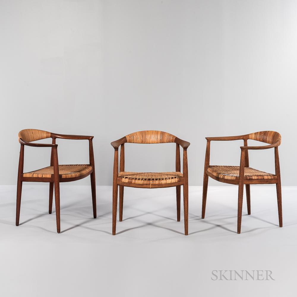 "Three Hans J. Wegner (1914-2007) for Johannes Hansen ""Model JH 501"" ""The Chair"" Armchairs"