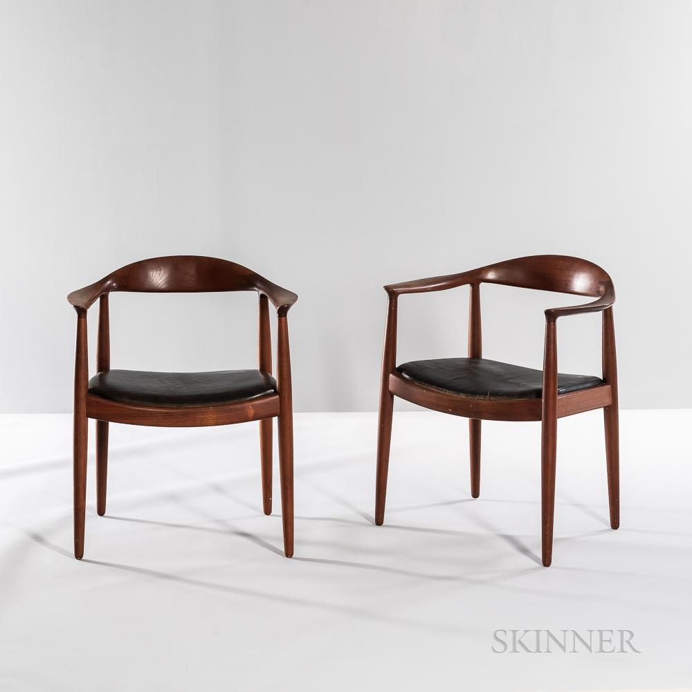 """Two Hans J. Wegner (1914-2007) for Johannes Hansen """"Model JH 501"""" """"The Chair"""" Armchairs"""