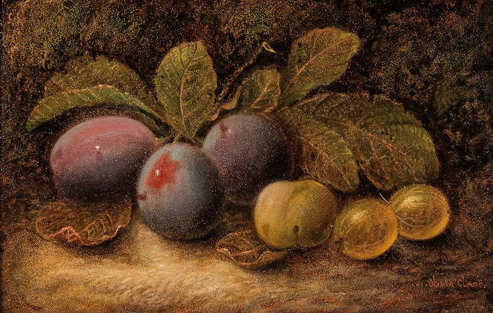 Oliver Clare (British, 1853-1927)      Two Still Life Paintings: Peach, Plum, Grapes, and Gooseberries