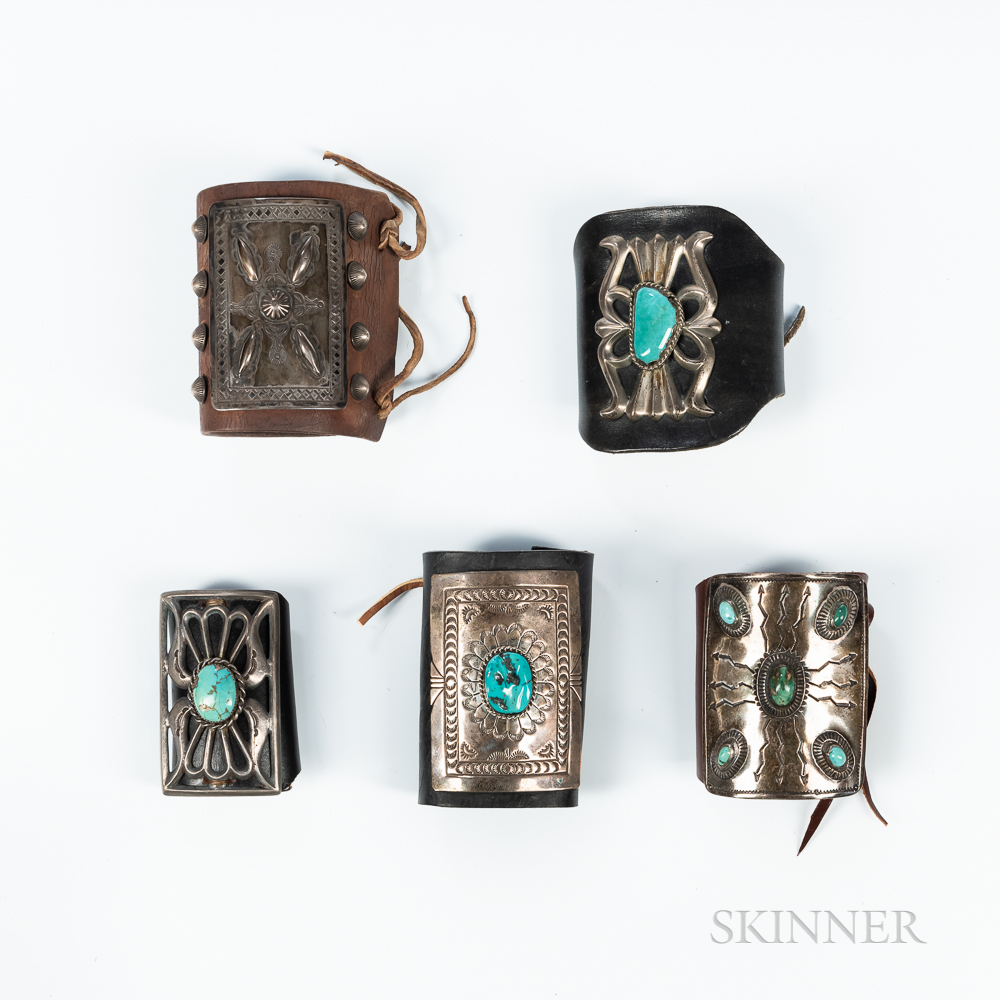 Five Navajo Silver and Turquoise Ketoh