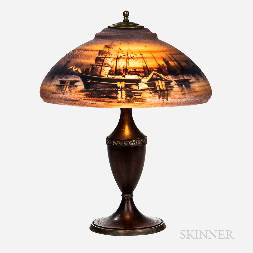 Pairpoint Reverse-painted Harbor Scene Table Lamp