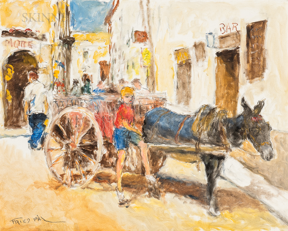Pál Fried (Hungarian/American, 1893-1976)      Boy with a Donkey Cart