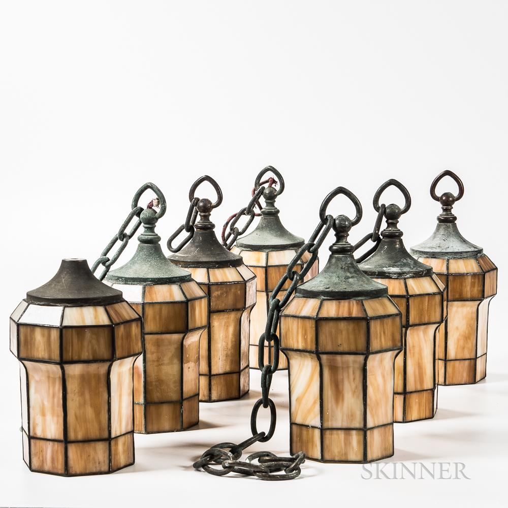 Seven Arts and Crafts Leaded Slag Glass Lanterns
