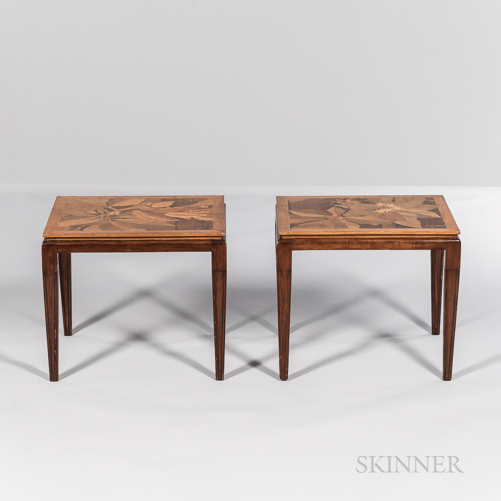 Two Gallé-style Marquetry Side Tables