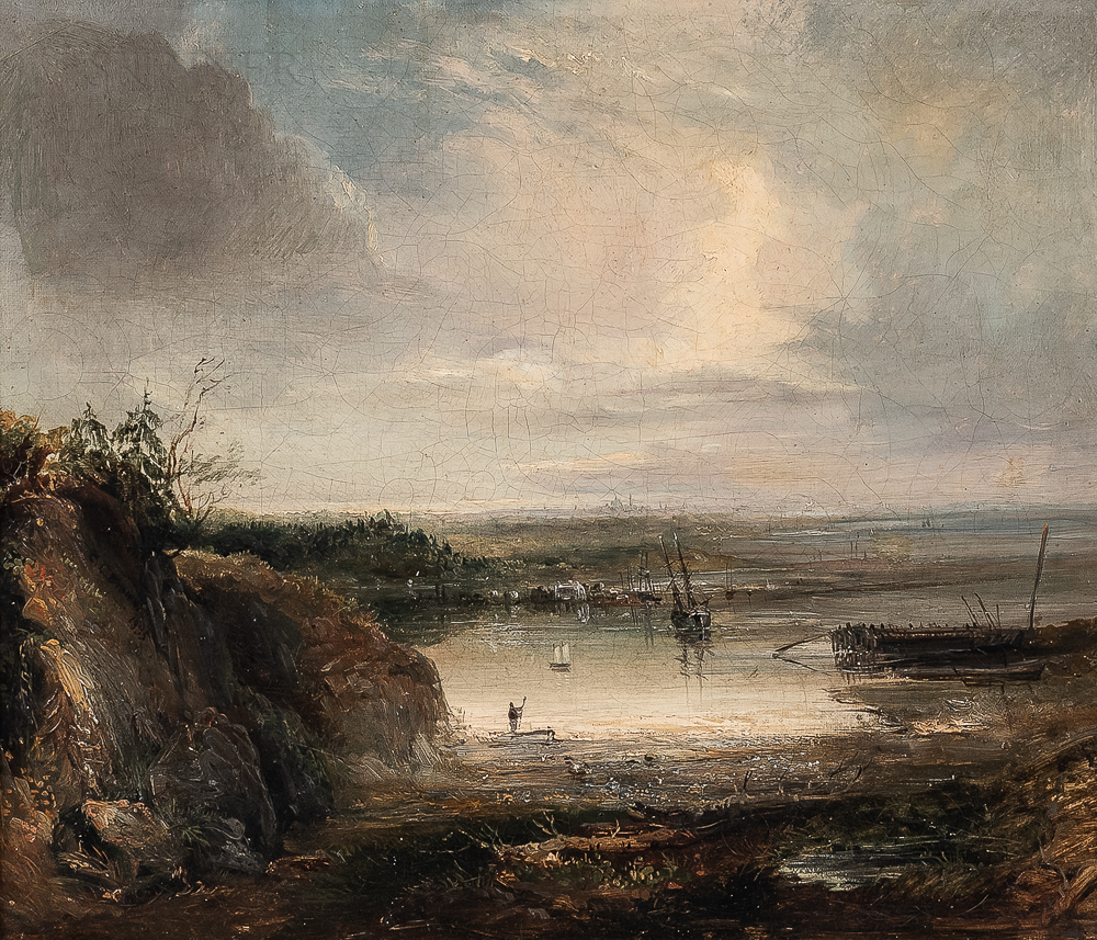 Attributed to Carrie L. Brown (American, fl. circa 1887)      Quiet Harbor at Low Tide with Distant City