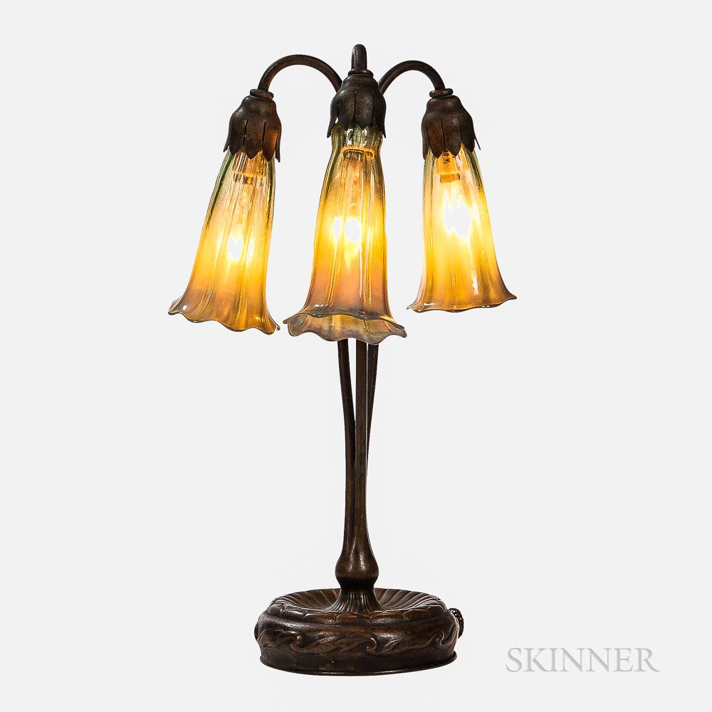 Tiffany Studios Patinated Bronze Three-light Lily Lamp