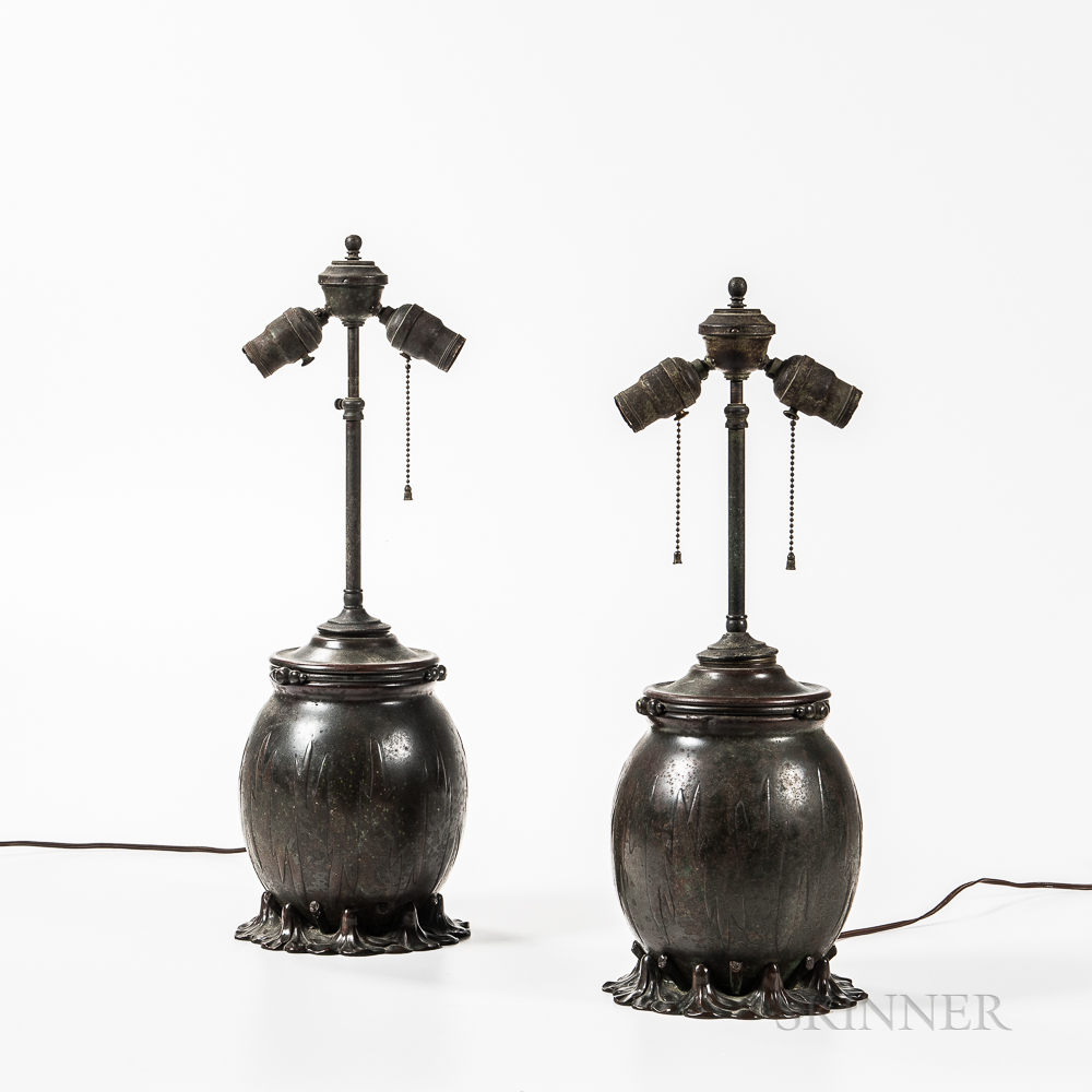 Pair of Tiffany Studios Swamp Flower Table Lamp Bases