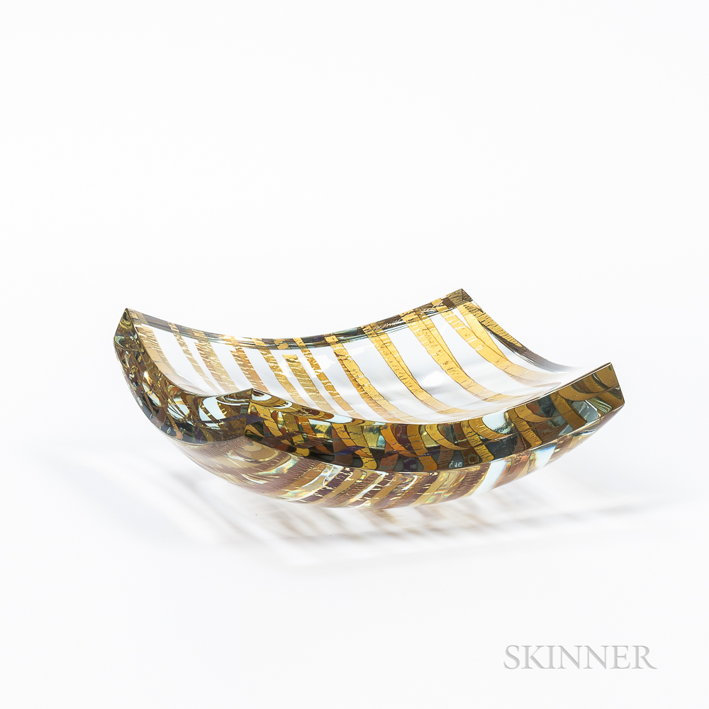 Tomas Hlavicka (Czech, b. 1950) Glass and Gold Leaf Bowl