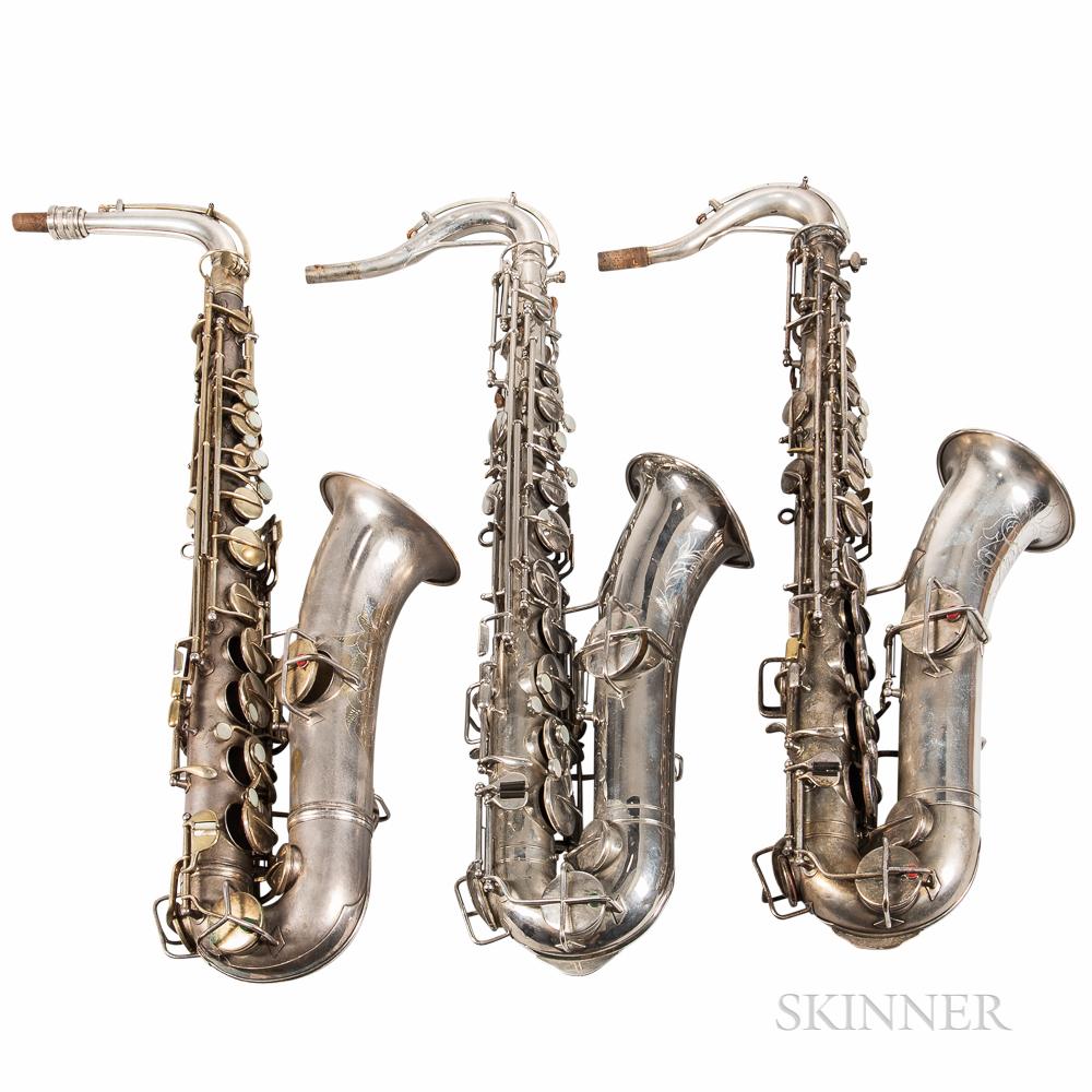 Three C Melody Saxophones, C.G. Conn, Symphony, and Martin