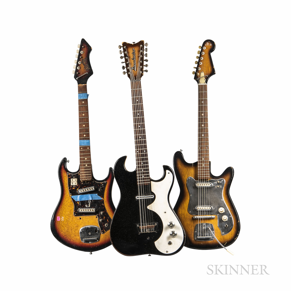 Three Electric Guitars for Parts or Repair, c. 1965