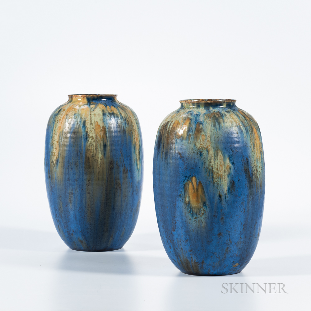 """Two Roseville Pottery """"Imperial II"""" Vases"""