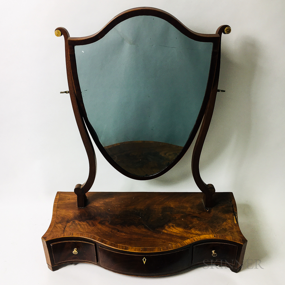 Federal Inlaid Mahogany Shield-form Serpentine-front Shaving Mirror