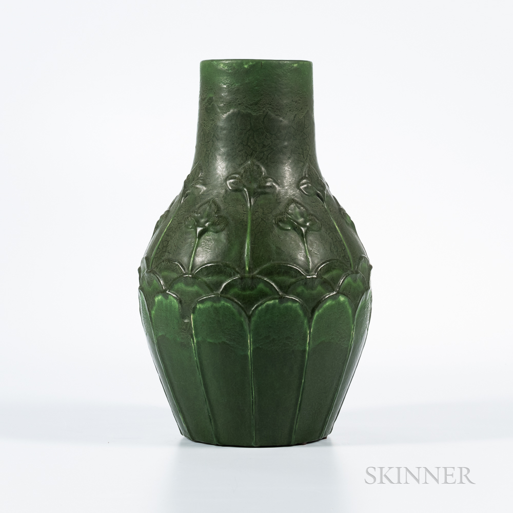 Grueby Faience Company Stem and Blossom Vase