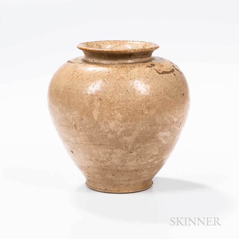 Cream-glazed Pottery Jar