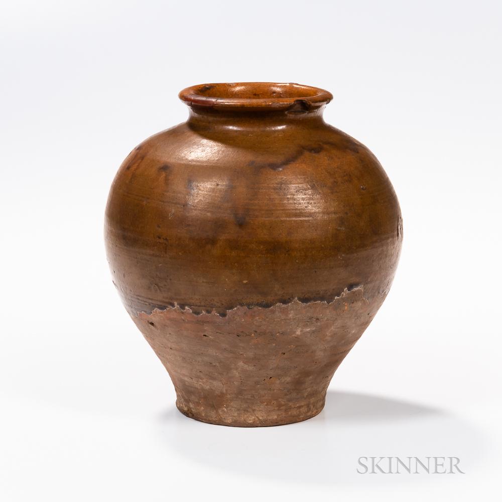 Brown-glazed Pottery Jar