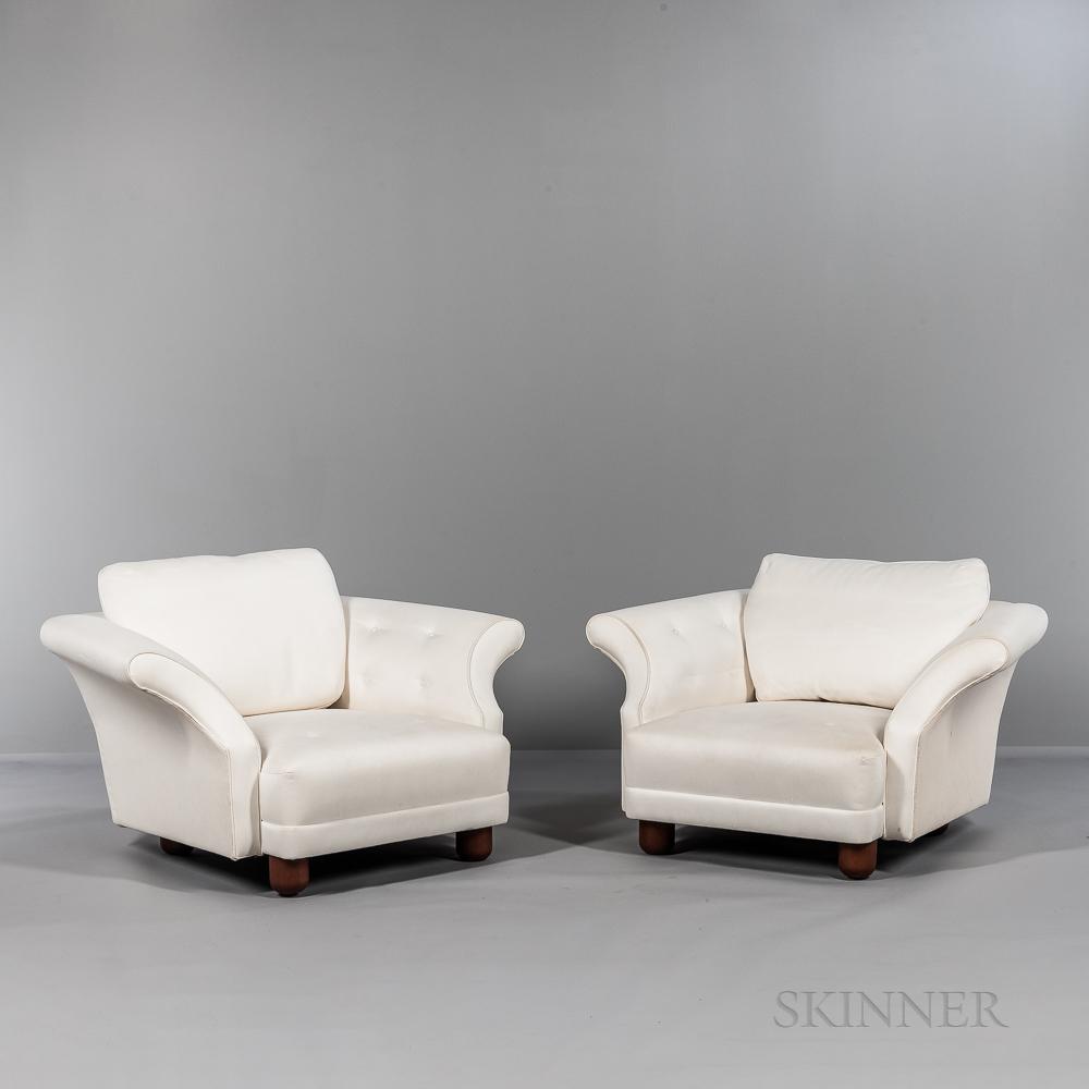 """Two Josef Frank (1885-1967) by Svenskt Tenn """"Liljevalchs Easy Chairs,"""""""
