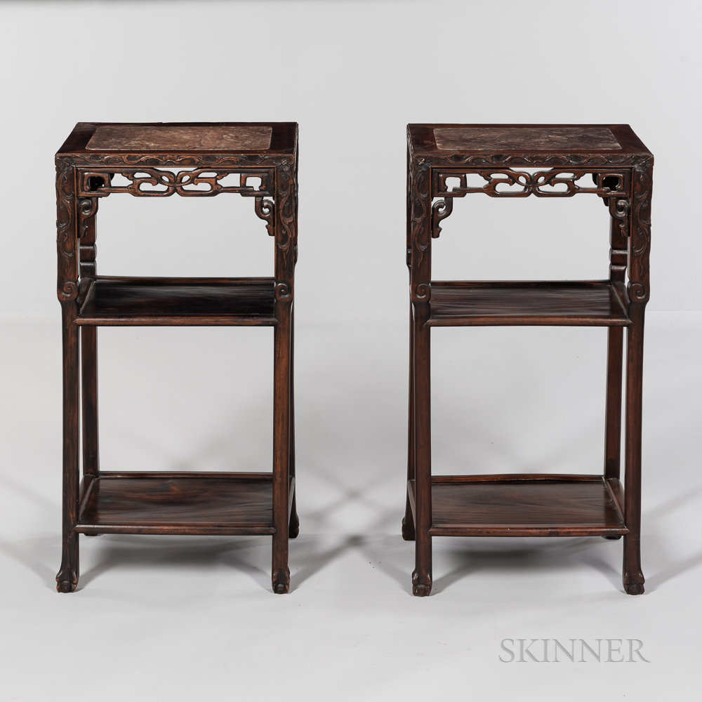 Pair of Marble-top Carved Hardwood Stands