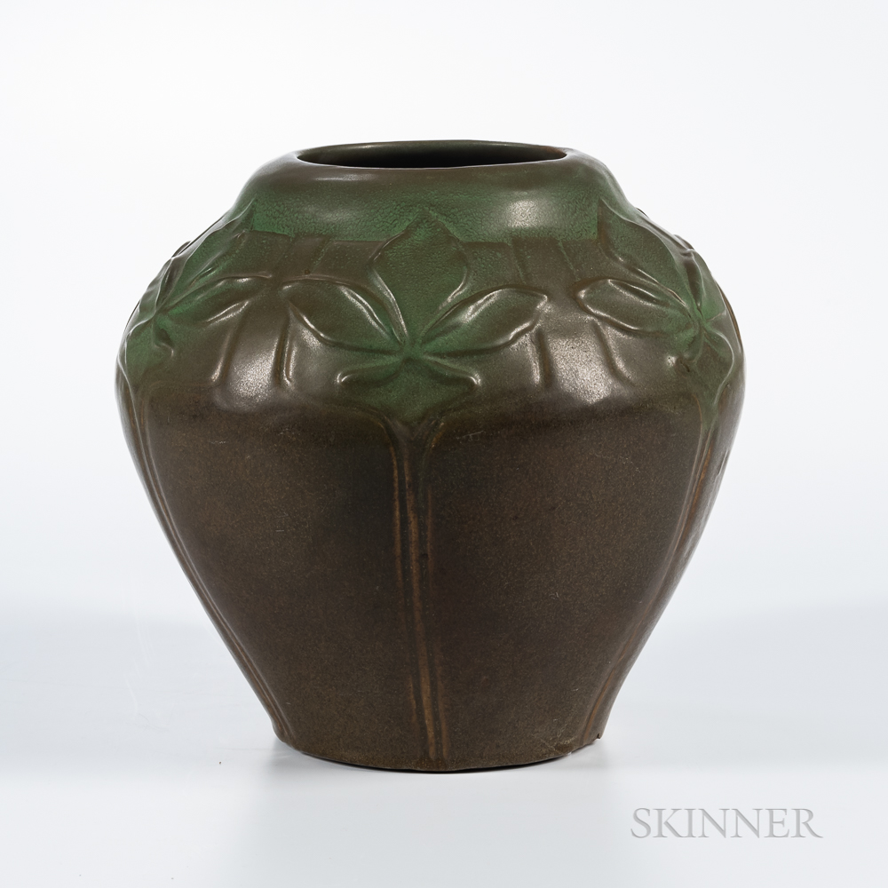 Van Briggle Art Pottery Leaf Decorated Vase
