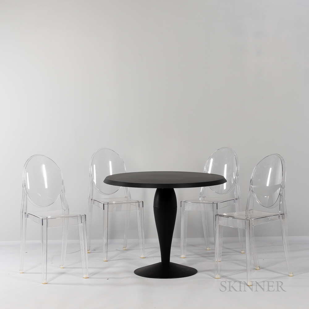 """Philippe Starck (French, b. 1942) for Kartell """"Miss Balu"""" Table and Four """"Victoria Ghost"""" Side Chairs"""
