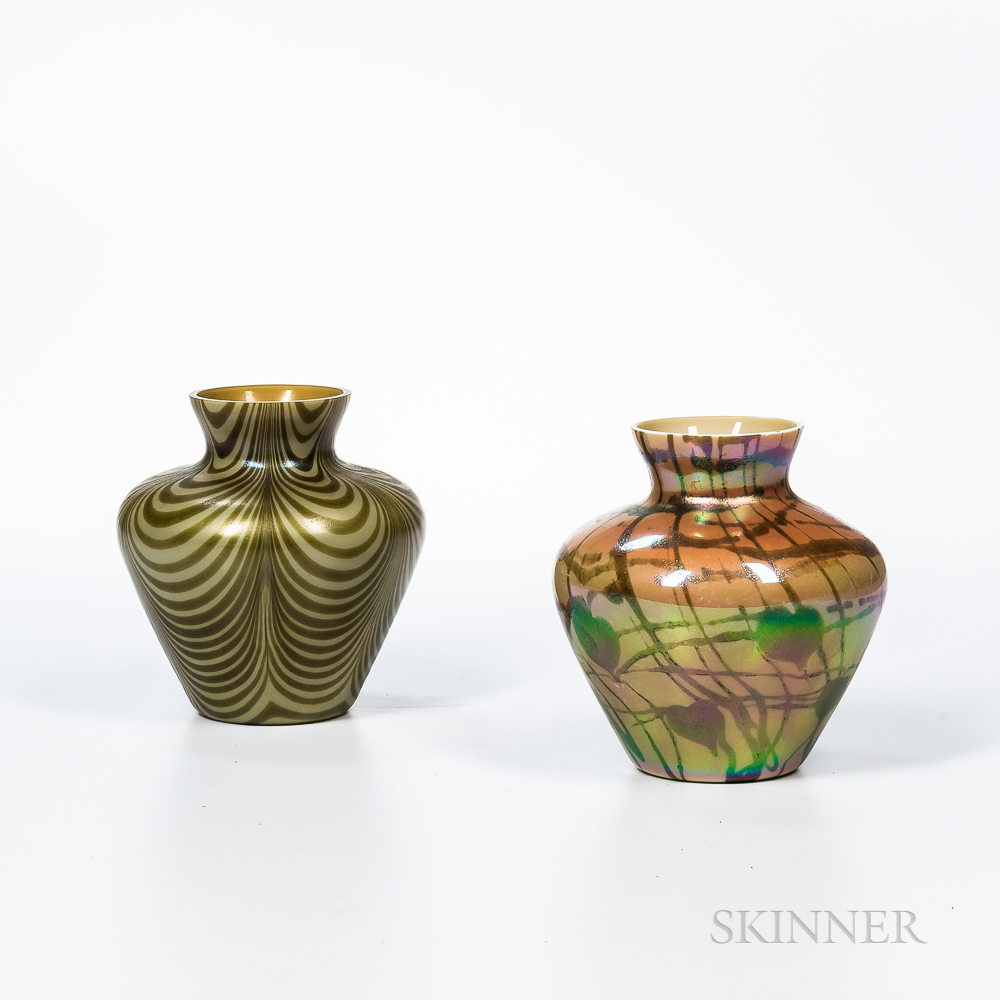 "Two Imperial Art Glass ""Lead Lustre"" Vases"