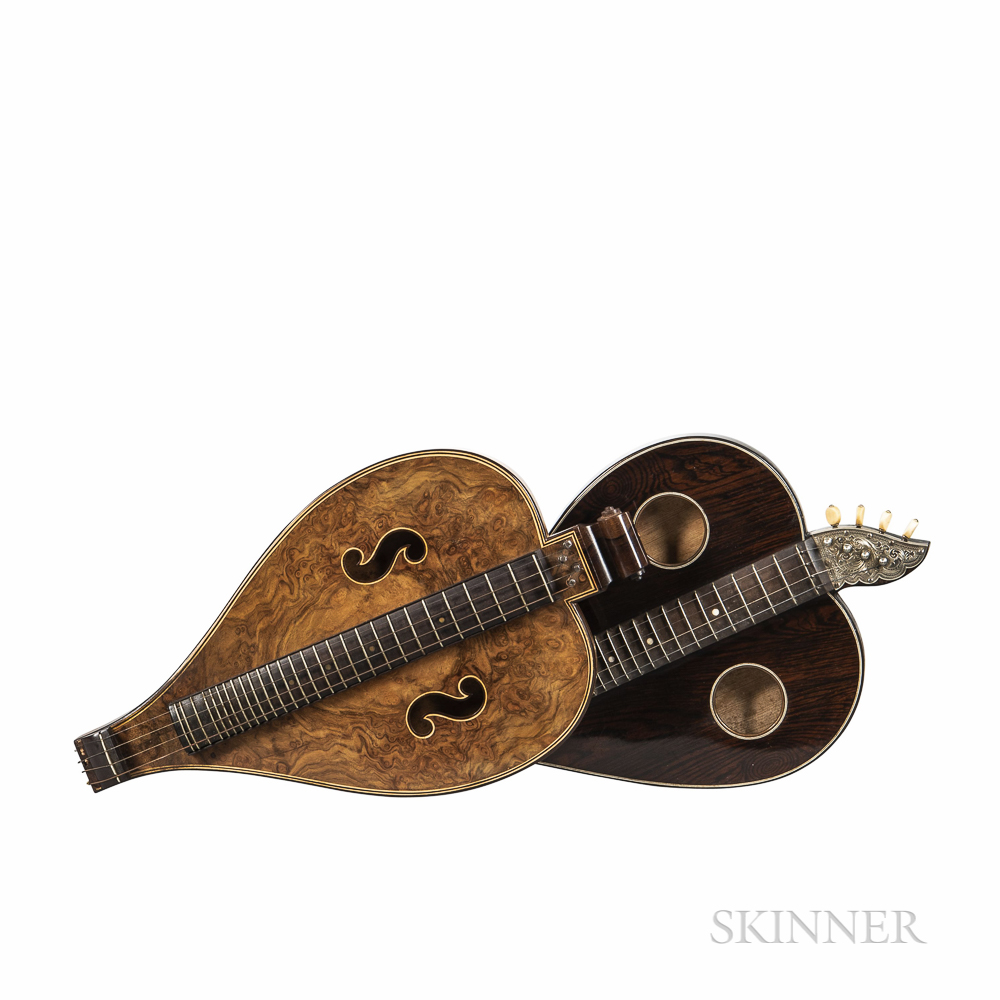Two German Heart-shaped Bowed Zithers, c. 1880