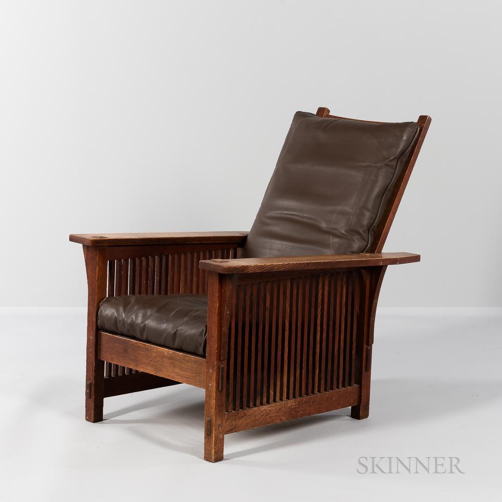 "Gustav Stickley ""Model #367"" Spindle Morris Chair"