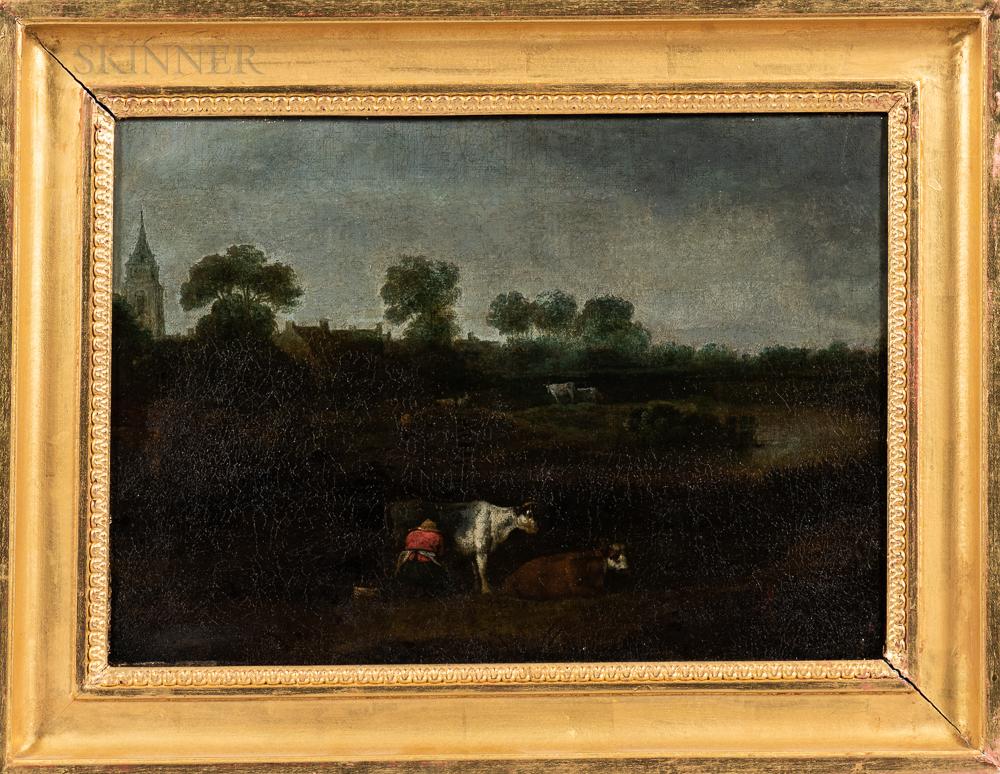 Dutch School, 19th Century      Milking Cows in a Landscape