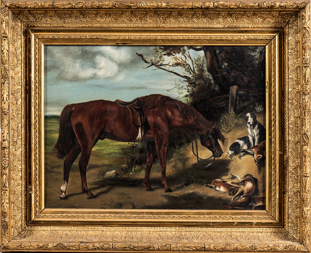 Anglo-American School, 19th Century      After the Hunt, Horse and Hounds at Rest