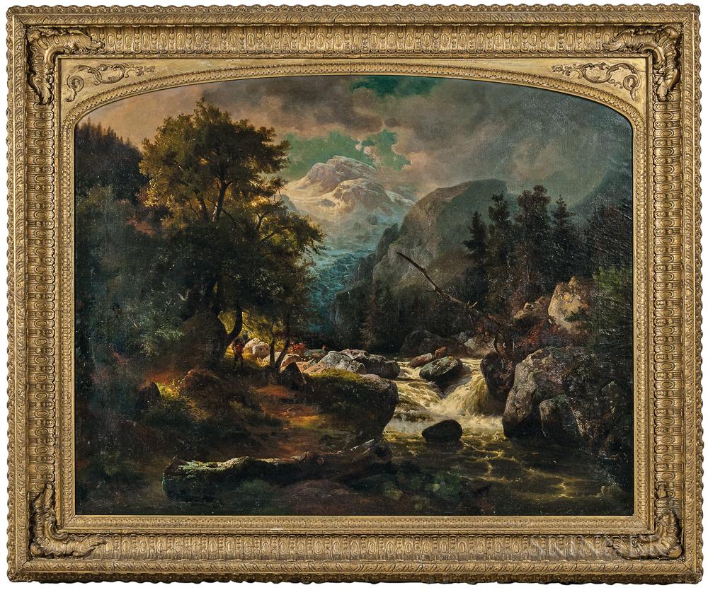 Johann Herman Carmiencke (German, 1810-1867)      The Mountain Torrent, Possibly the Rhine Glacier