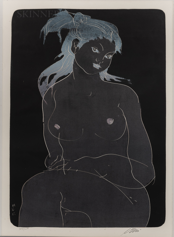 Hans Erni (Swiss, 1909-2015)      Seated Nude