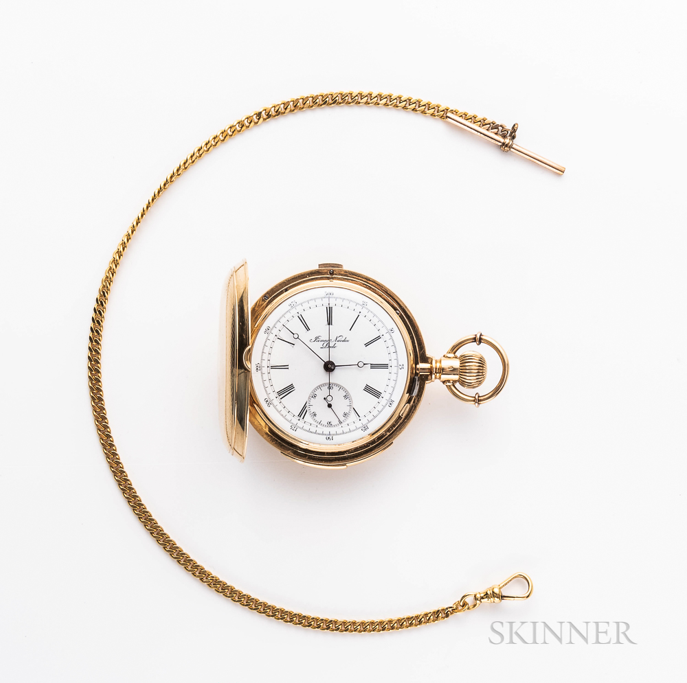 James Nardin 18kt Gold Minute-repeating Chronograph Hunter-case Watch